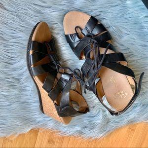 Clark's Leather Cork Wedge Sandal